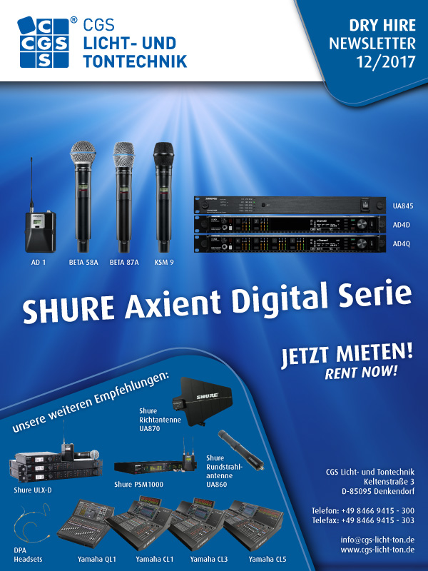 Shure Axient Digital Series, Rent now, CGS Dry Hire