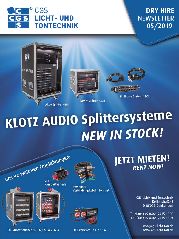 CGS distribution systems, splitter systems, KLOTZ AUDIO, New in stock, Powerlock cable