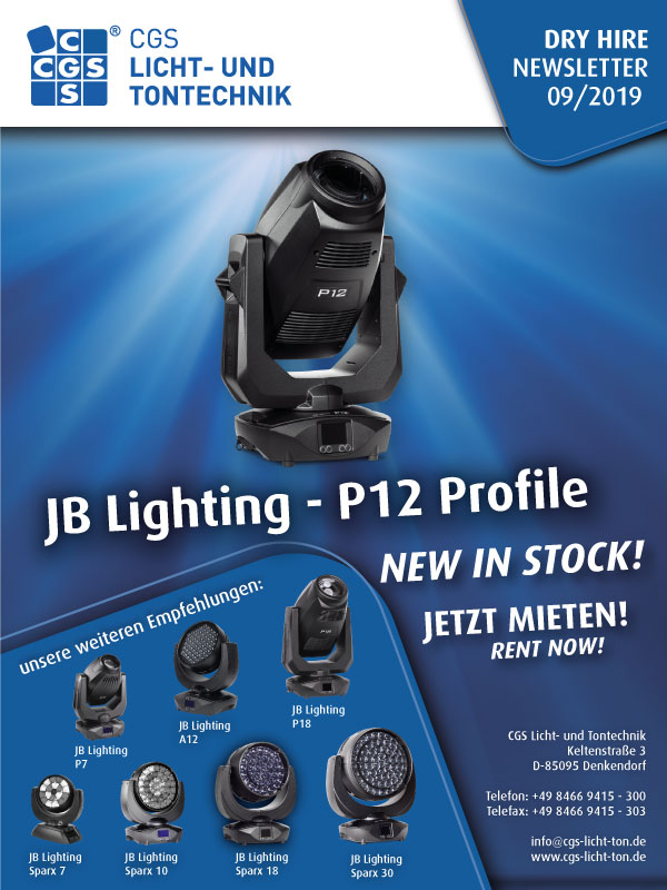 JB Lighting CGS Dry Hire P12 Profile, Rent now