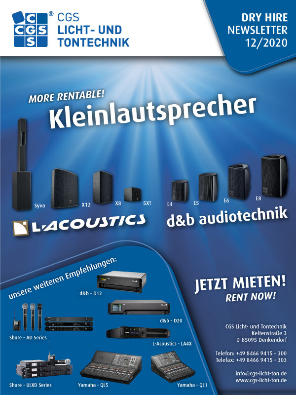 small speakers d&b audiotechnik CGS, E4, E5, E6, E8, L-Acoustics Syva, X12, X8, 5XT