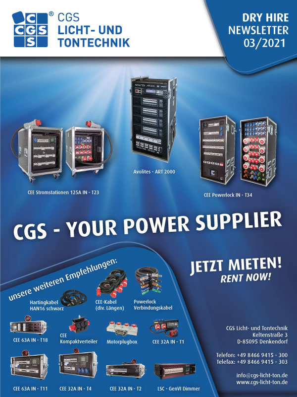 CGS Power Supplier, CGS Power stations, CGS Powerlock, Avolites Art 2000, 125A, 63A, 32A, 16A, Motorplugbox, Harting cable, GenVI Dimmer LSC, Connection cable